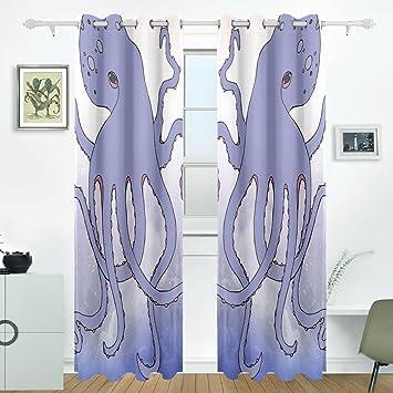 DEYYA Abstract Blue Art Octopus Curtains Drapes Panels Darkening Blackout Grommet Room Divider For Patio Window