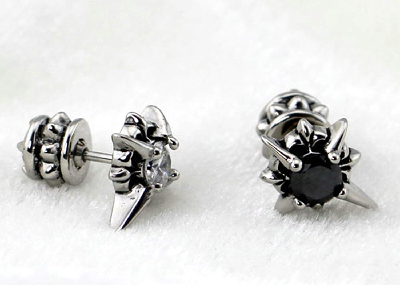 Stainless Steel Stud Earrings for Men Rivets Cubic Zirconia Inlaid Aokarry Earrings