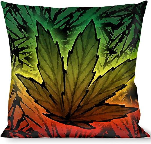 Buckle-Down PLW-TH1-W31347 Marijuana Haze Rasta Rasta Throw Pillow, Weed