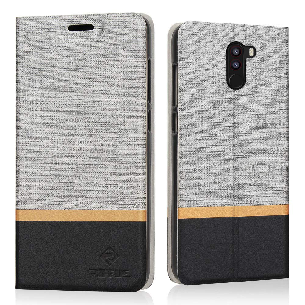 RIFFUE Funda Xiaomi Pocophone F1 / Poco F1, Carcasa Delgada Libro de Cuero con Tapa Cartera de Billetera y Ranura Cover Case para Xiaomi Pocophone F1 ...