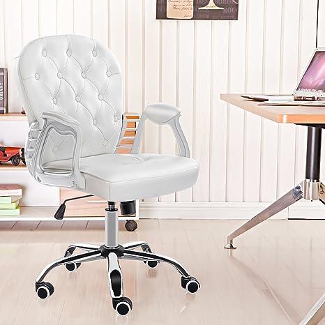 HEBEYG - Silla de oficina para el hogar, altura ajustable, piel, color blanco