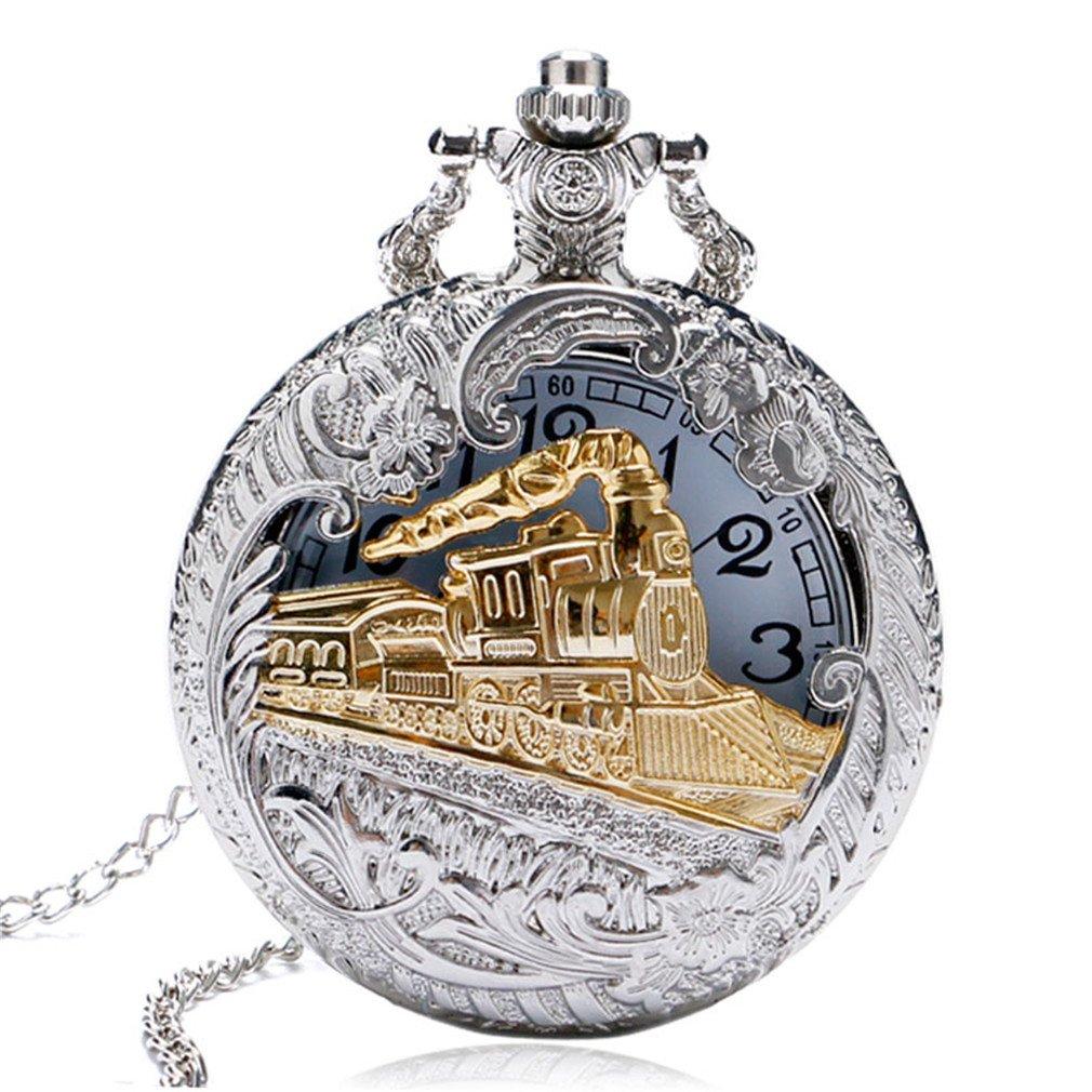 Men Women Silver Gold Railway Locomotive Carving Steampunk Quartz Pocket Watch