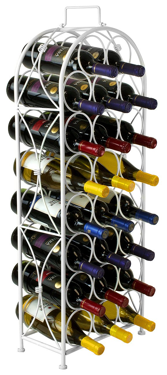 Sorbus Wine Rack Stand Bordeaux Chateau Style - Holds 23 Bottles of Your Favorite Wine - Elegant Looking French Style Wine Rack to Compliment Any Space - No Assembly Required (White)