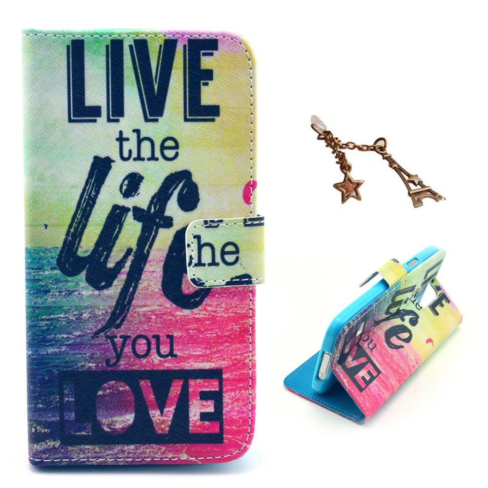 Live the Life You Love - per Huawei Ascend Y300 Flip-artificiale in pelle con staffa supporto del basamento della carta di credito Slot Portafoglio Uming/® Il modello della stampa della custodia per armi variopinta della copertura Holster Cover Case