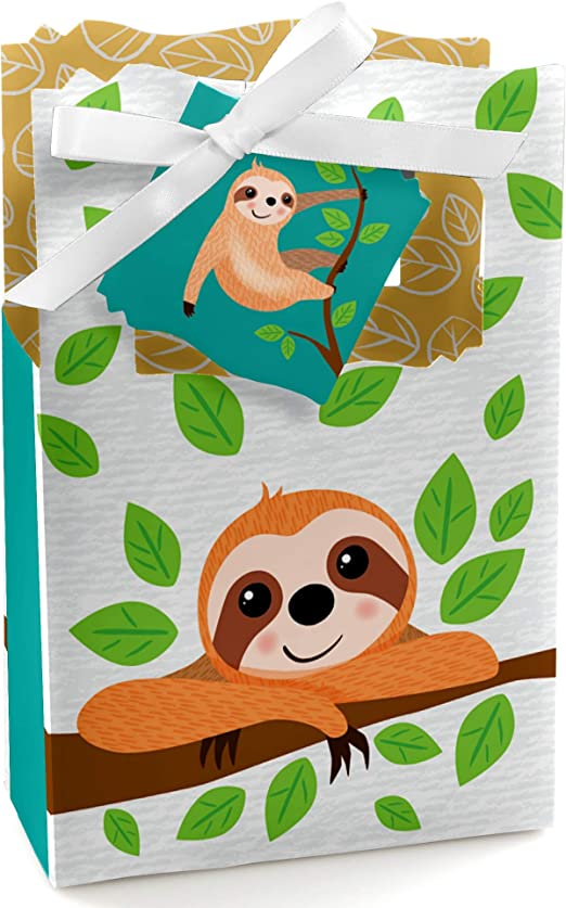 4 x 3 Inches with Drawstring Closure 4 Sweet Sloths with Butterflies and Flowers Muslin Party Favor Bags Whimsical Sloth Gift Bags