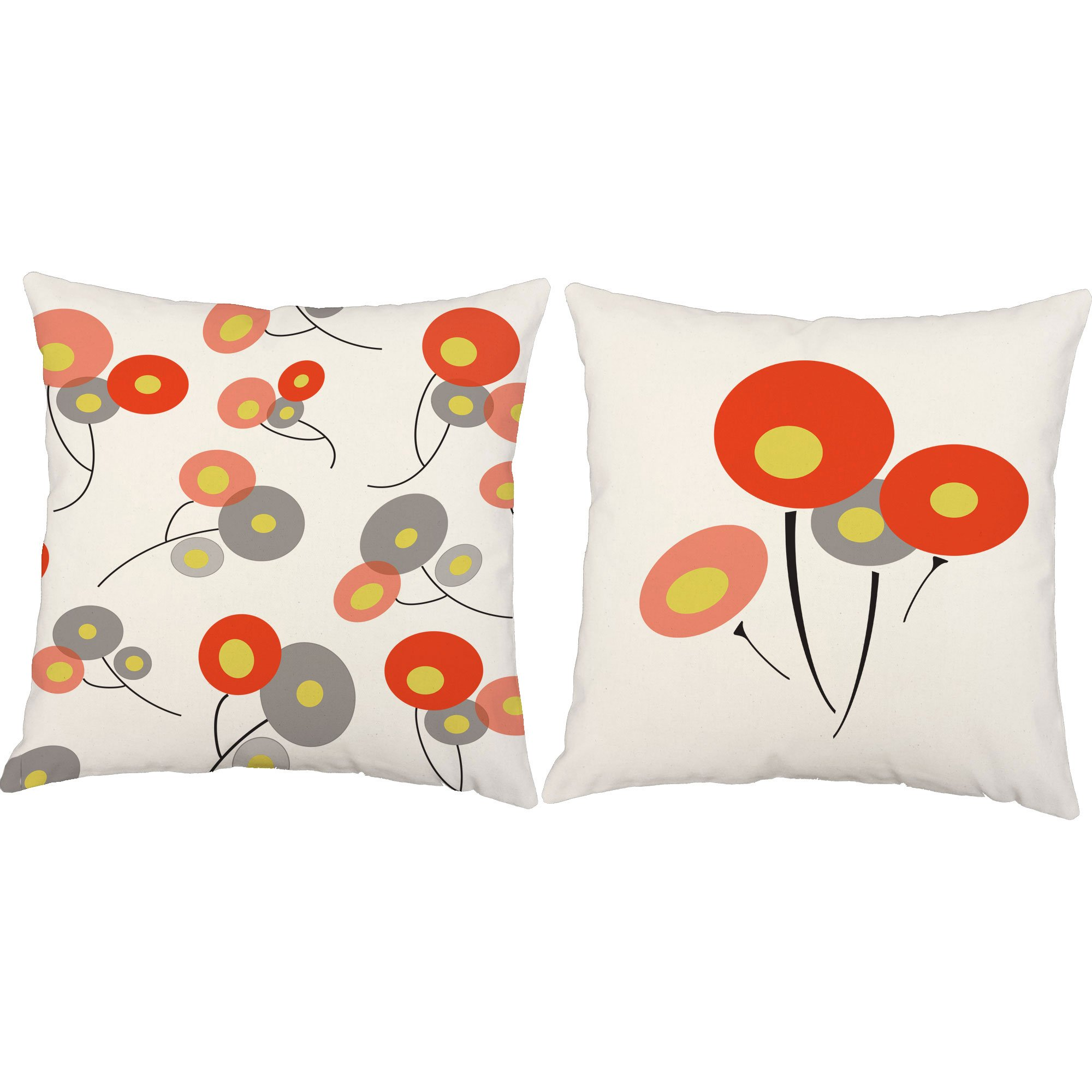 Set of 2 RoomCraft Retro Red Poppies Throw Pillows 20x20 Square White Indoor-Outdoor Geometric Floral Cushions