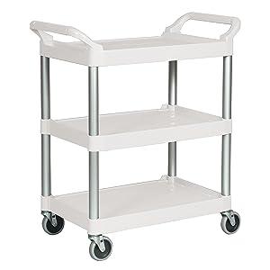 Rubbermaid Commercial Plastic Utility Cart, White, FG342488OWHT