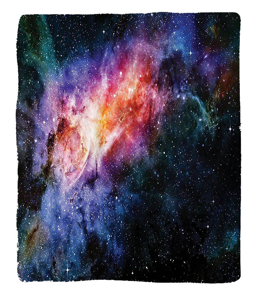 Chaoran 1 Fleece Blanket on Amazon Super Silky Soft All Season Super Plush Space Decorations Collectiontarry Deep Outerpace Nebula Galaxy in the Universe Celestial Print Fabric Navy Orange Purple