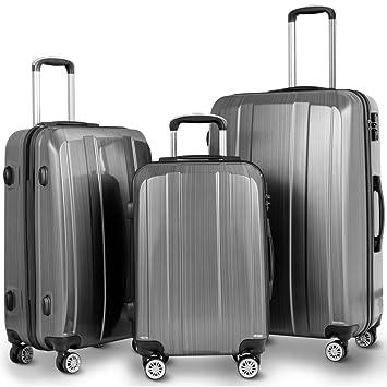 efd46dbc667f Goplus Luggage Set 3 Piece Lightweight Luggage Hardside Expandable Travel  Suitcase w/TSA Lock (Grey)