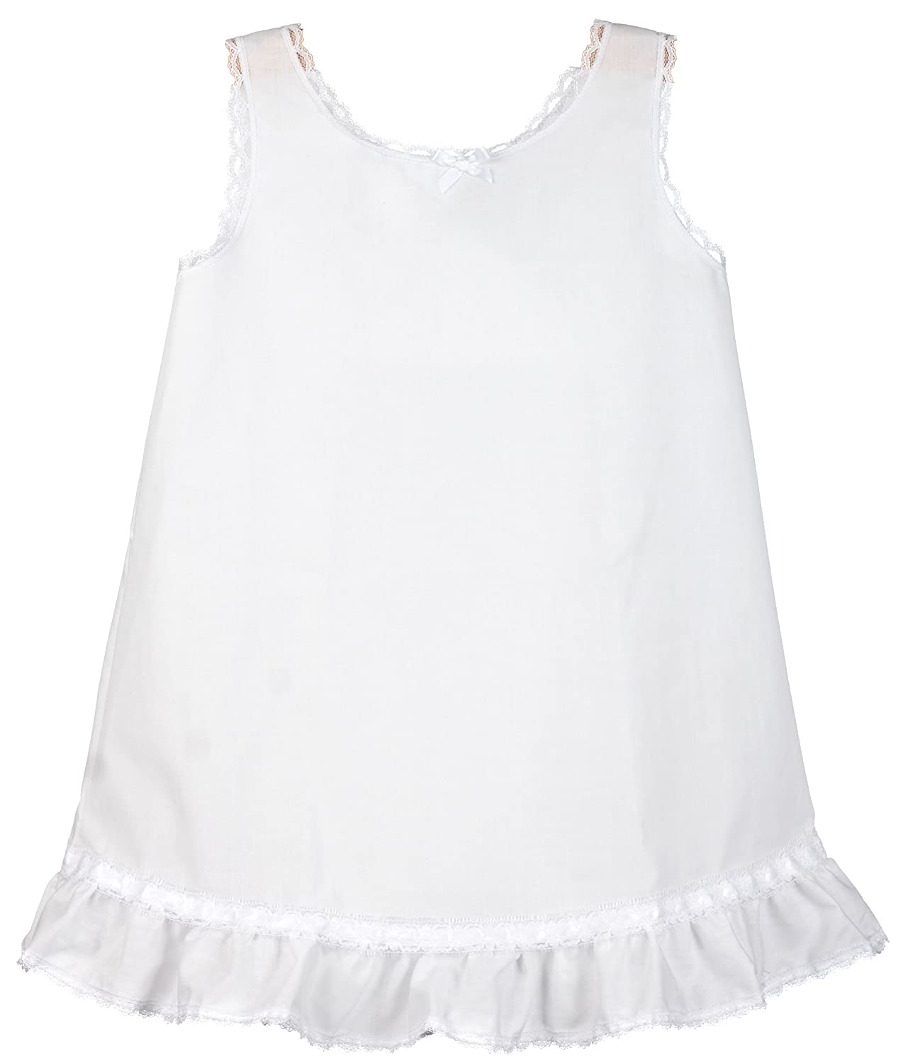 I.C. Collections Little Girls White Embellished A-Line Slip, 6 New ICM 000345-WHB