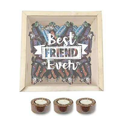 YaYa CafeTM Birthday Gifts For Best Friends Chocolate Gift Hampers With 3 Glazed Metallic Candles