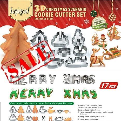 17 PCS - Juego de cortadores de galletas de escenarios navideños en 3D (Árbol,