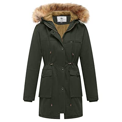 WenVen Women's Fleece Cotton Military Parka Fur Hooded Coat: Clothing