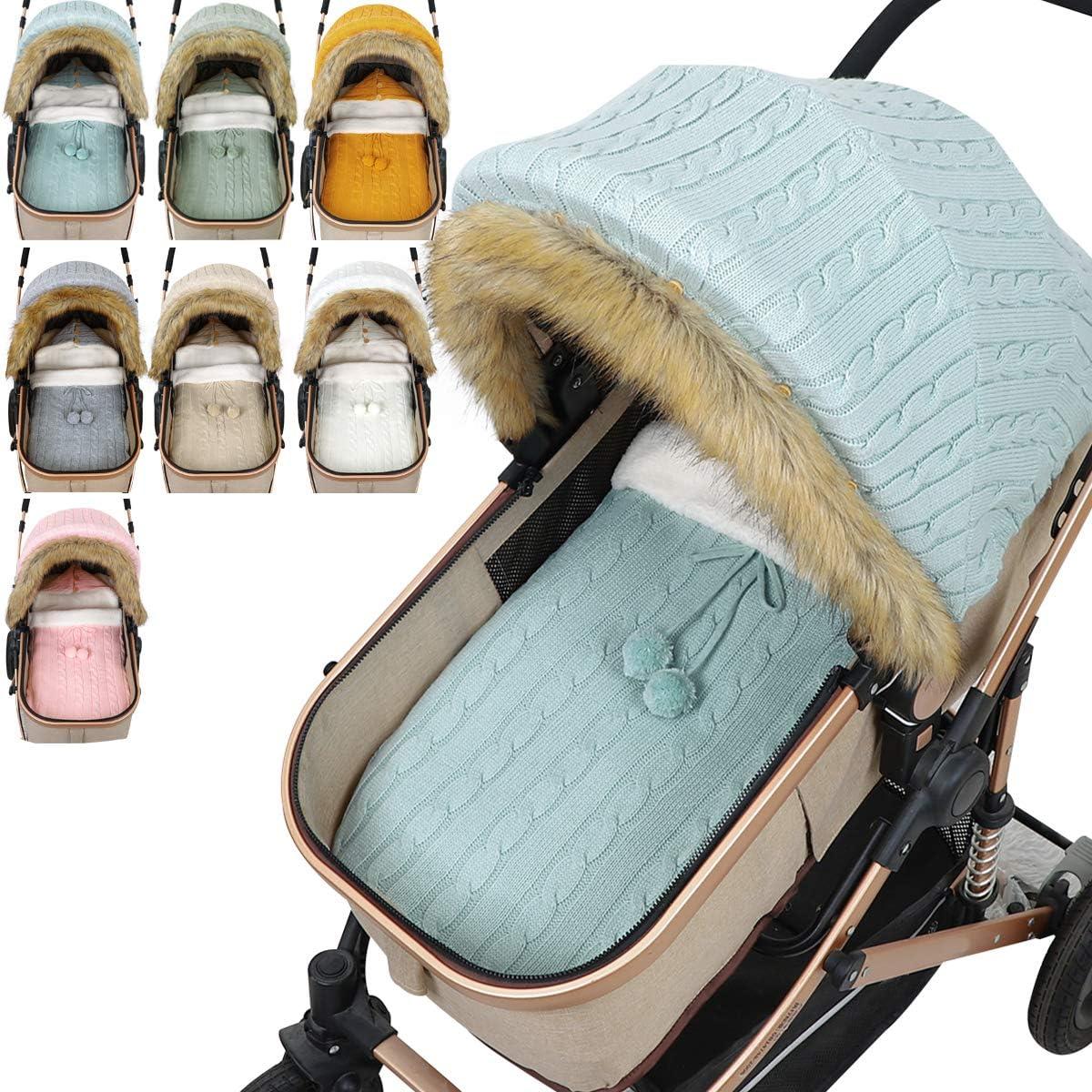 Bebé Tejido Saco de Dormir Cochecito Conjunto de Cubierta Recién Nacido Asiento de Coche para Bebés Dosel Cálido Crochet Cochecito Envolver Manta Saco de Dormir para 0-12 Meses