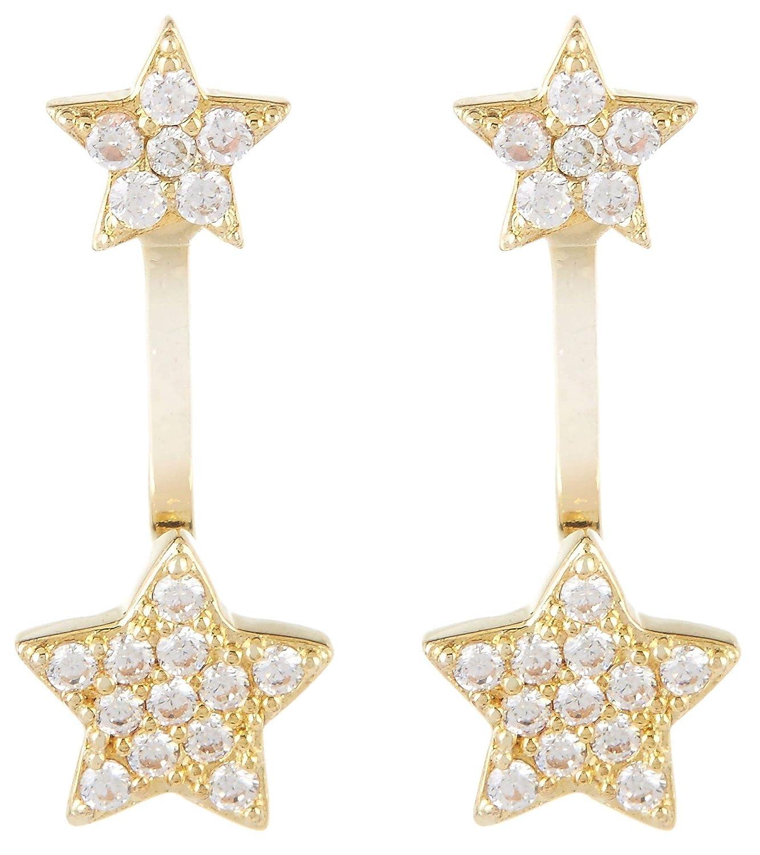 23b46e0d8 Amazon.com: Bay Studio Cubic Zirconia Star Post Top Earrings One Size Gold  tone: Jewelry