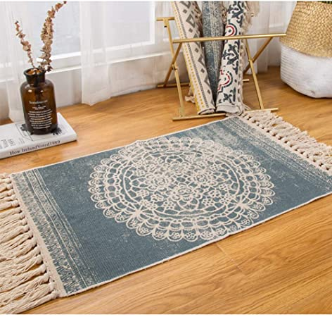 Sumshy Alfombra etnica Bohemia algodón y Ropa Alfombra Sala alfombras de habitacion de Estar Dormitorio cabecera Alfombra étnica Vintage Borla de Viento - 80x50cm: Amazon.es: Hogar