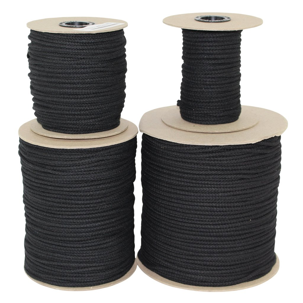 Cotton Tie Line (1/8 inch) Unglazed - SGT KNOTS - Trick Line - Multipurpose Utility Line - Polyester Core - Theatrical projects, decor, cable management, commercial uses (1000 ft - Black)