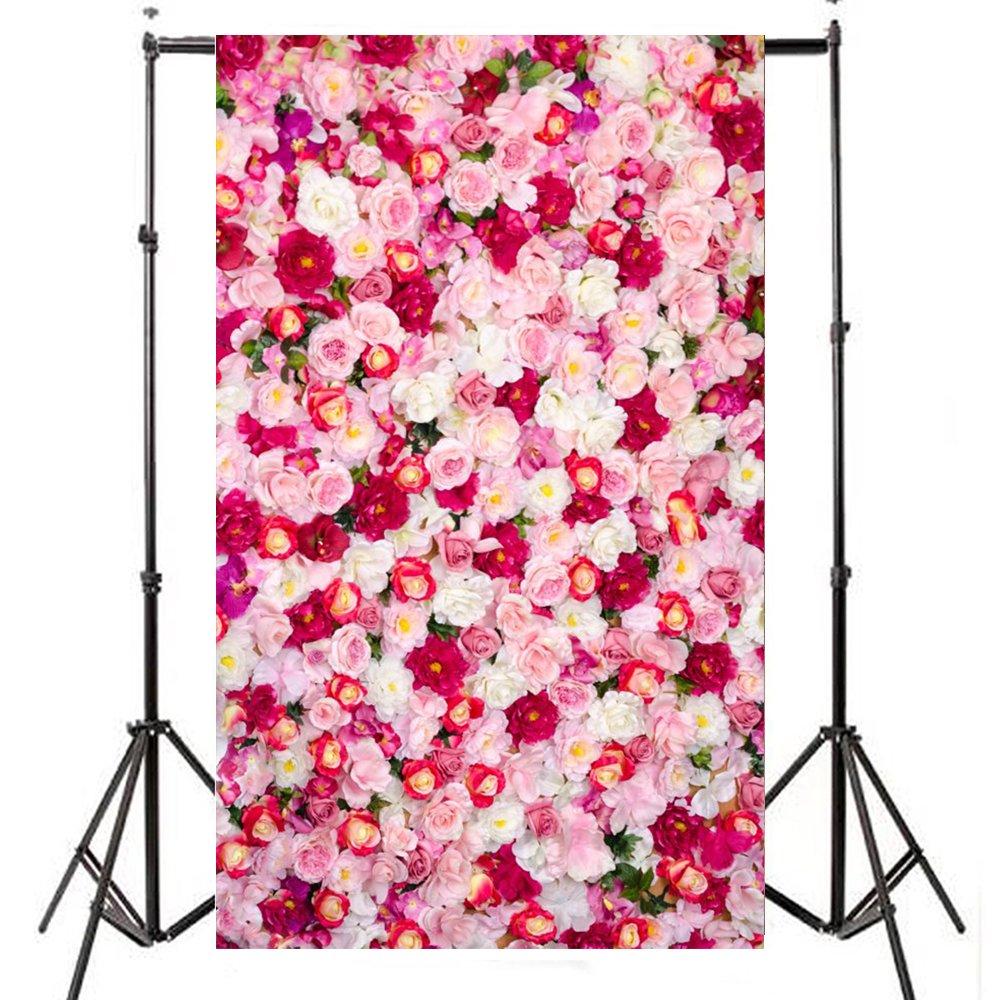 FIRSTLIKE 3x5フィート ウェディング ベビー フラワー 壁 ロマンチック 写真 背景 ビニール スタジオ 背景 壁   B0749CFY4V