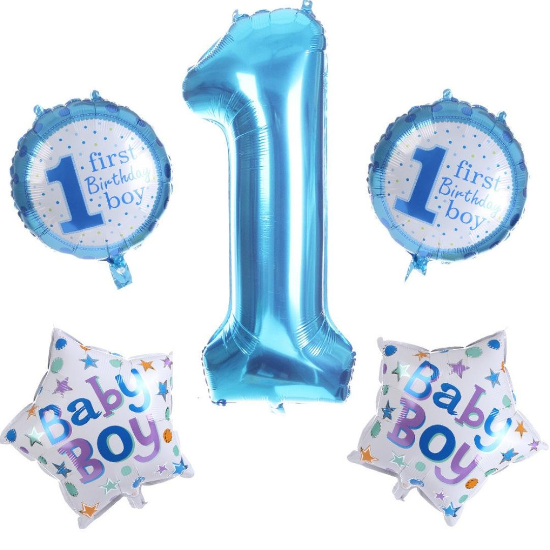 Gbell Number Letter Foil Balloons Decor - Baby Girl Baby Boy First Birthday Party Decorations Ballons Child Gift (Blue)
