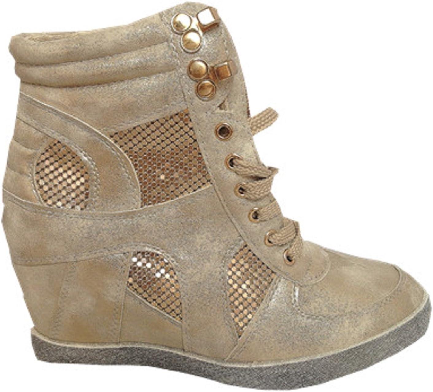 fashionfolie Baskets compensées Montante Talon Chaussures Femme Fille Lacet Doré 16