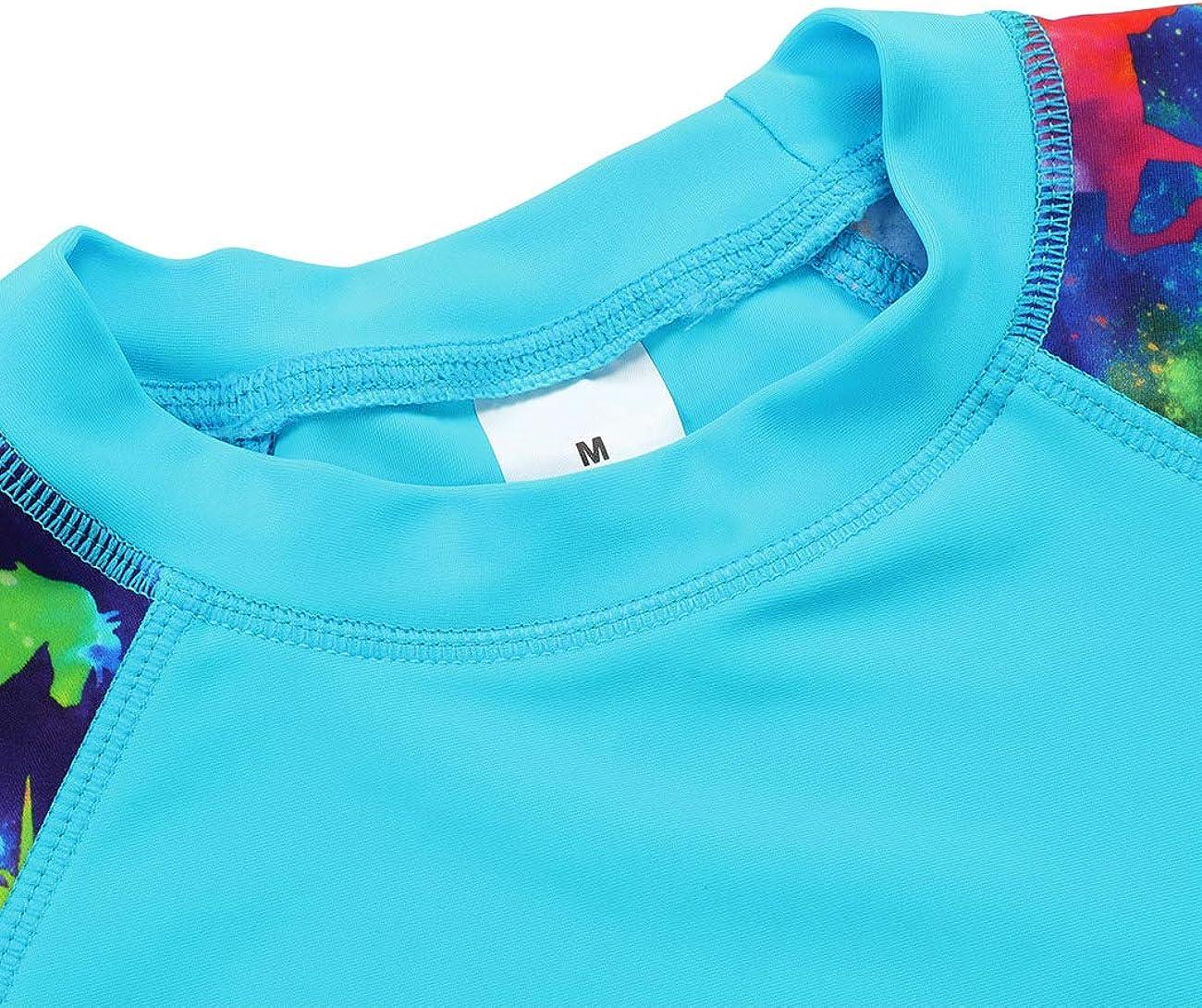 iDrawl Unisex Kids Short Sleeve Rash Guards Retro Floral Printed Rash Vest with Drawstring Bottom UPF 50 for Age of 4 to 14