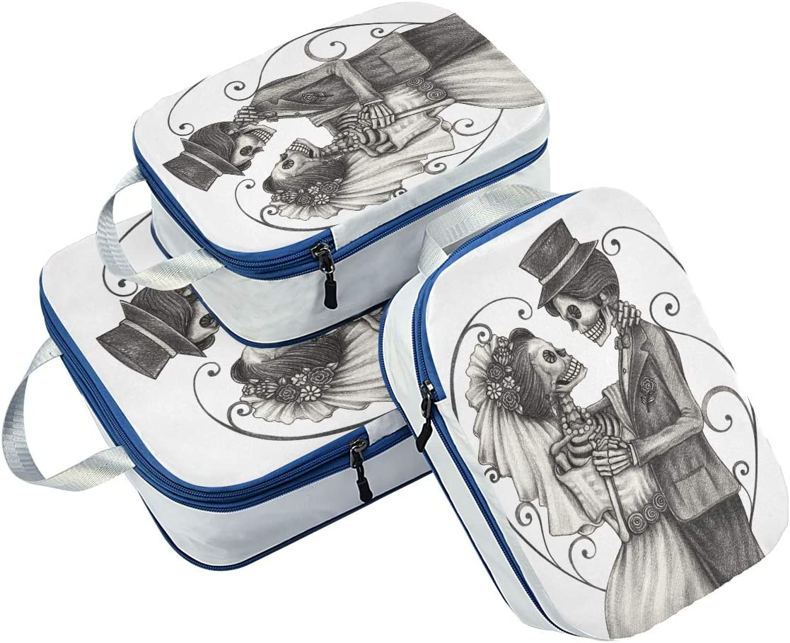 Dancing Wedding Skulls 3 Set Packing Cubes,2 Various Sizes Travel Luggage Packing Organizers d