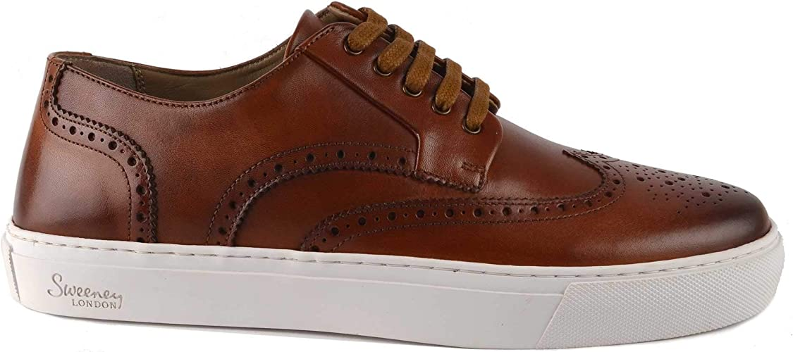 Burwell Tan Leather Brogue Trainer