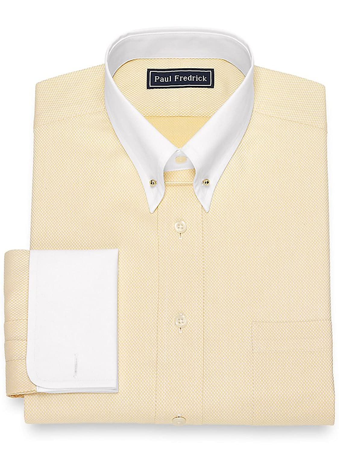 1920s Style Mens Shirts | Peaky Blinders Shirts and Collars Paul Fredrick Mens Slim Fit Diamond Pattern Dress Shirt $79.50 AT vintagedancer.com