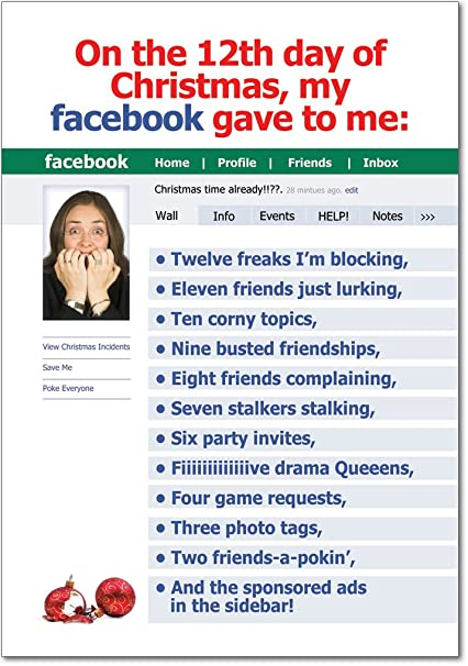 Best fun christmas cards for facebook image collection b5922 box set of 12 box of 12 days of facebook christmas funny christmas greeting cards m4hsunfo