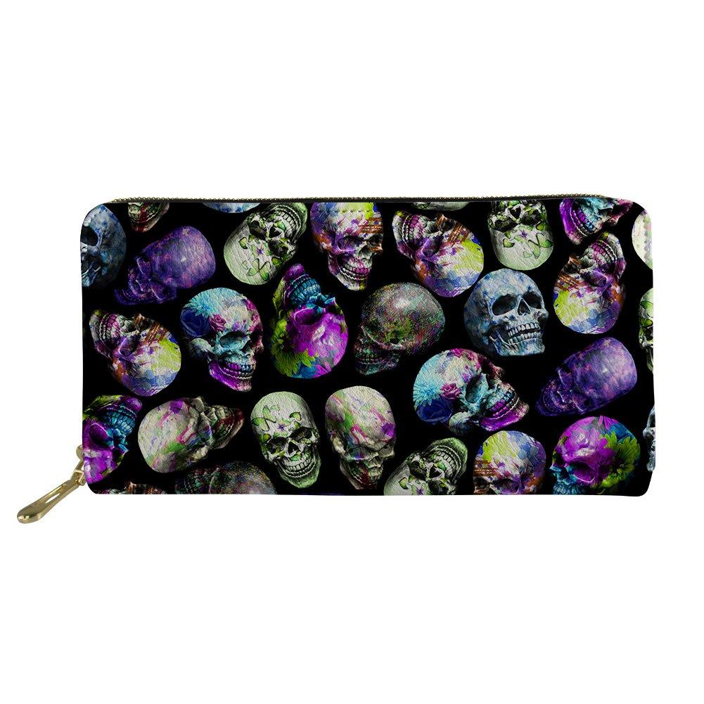 doginthehole Skull Print Fashion Women Long Leather Wallet Zip Clutch Purse