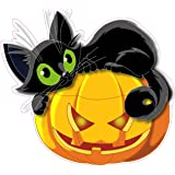 "Halloween Pumpkin with Black Cat Wall or Window Decor Decal 12"" x 11"""