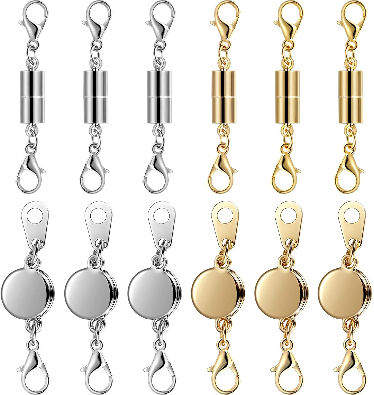 4 Magnetic Fasteners 6 X 18 mm Silver cylinder chain closure Connectors Connector Jewelry clasp Magnet Clasp Bracelet