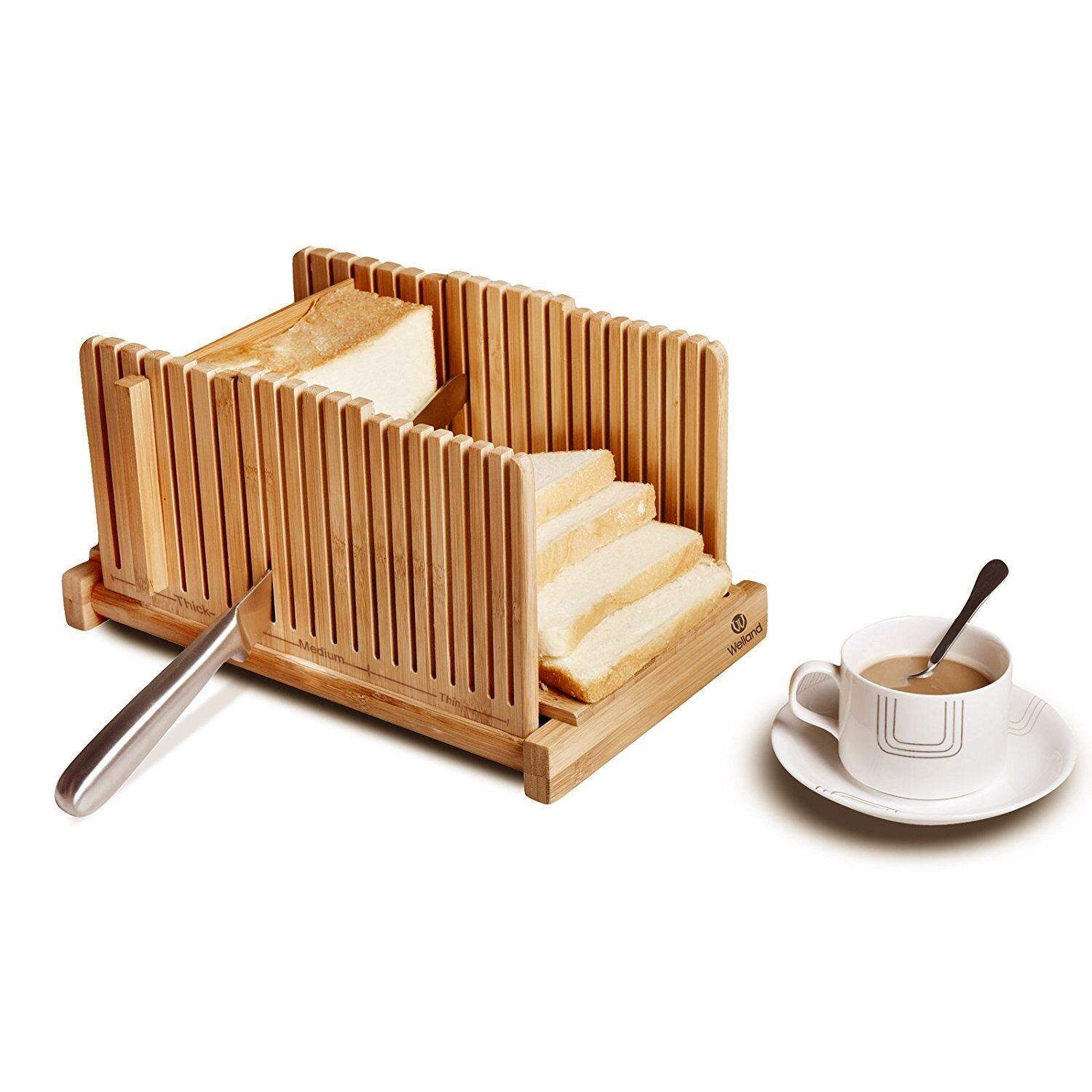 WELLAND Bamboo Bread Slicer Guide, Foldable Wooden Toast Cutting Guide with 3 Slicing Sizes for Homemade Breads, Loaf Cakes