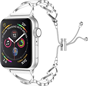 SamHity Bracelet Compatible for Apple Watch Band Iwatch Series 6/5/4/3/2/1 SE 38mm 40mm 42mm 44mm apple watch band women (Silver, 42mm 44mm)
