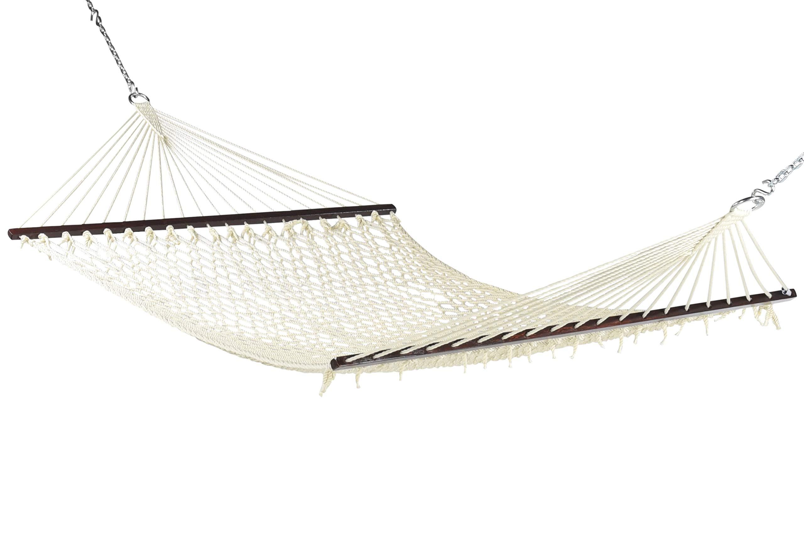 Caribbean Rope Hammock - 55 Inch - Soft-Spun Polyester (Natural Cream)