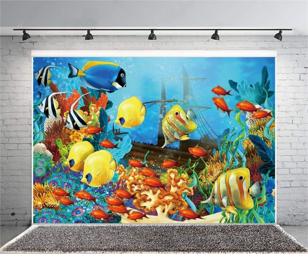 YongFoto 3x2m Fondo de Fotografia Submarino Mundo Acuario Peces Coral Burbuja Barco Azul Agua Interior Papel Pintado Dibujos Animados Telón de Fondo Fiesta ...