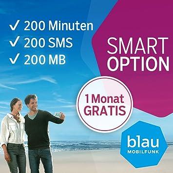 Carte Sim Prepayee Bleue Avec Option Intelligente 1er Mois Gratuite 200 Min 200 Sms 200 Mo Internet Haut Debit Amazon Fr High Tech