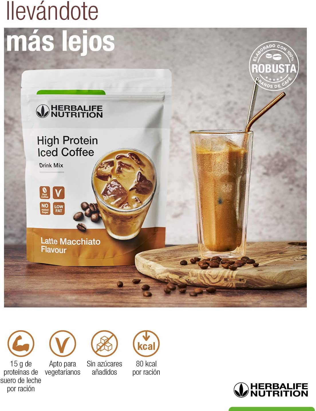 Herbalife - Proteina sabor a Café Helado - High Protein Iced Coffee Latte macchiato 308 g