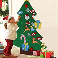 Felt Christmas Tree, 3ft Large Puzzle Handmade DIY Christmas Tree with 28 Pcs Detachable Ornaments Wall Decor for Kids Toddlers Xmas Gifts Door Wall Hanging Decorations Set