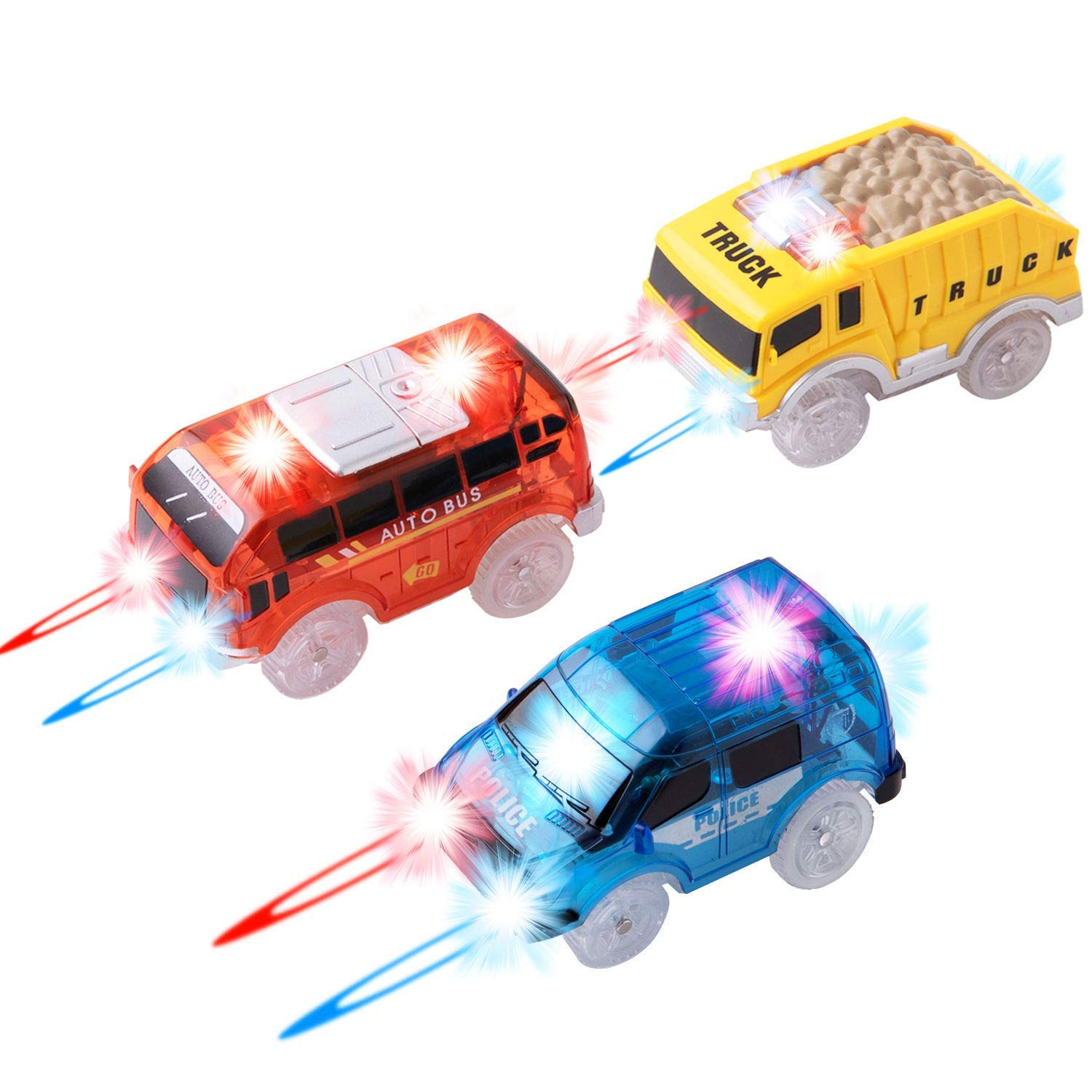 Track Cars Replacement Only Light Up Toy Cars with 5 Flashing LED Lights Toys Racing Car Track Accessories Compatible with Most Tracks for Kids, Boys, Girls Best Gifts 3Pack by Topsolid