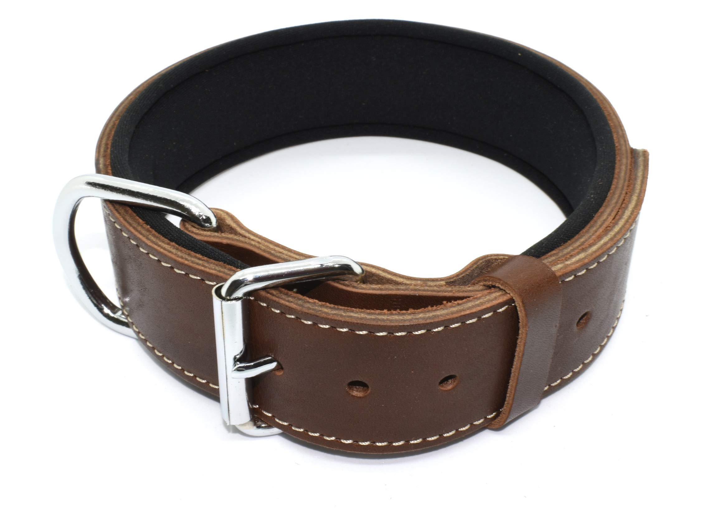 Tuberk Soft Padded, Genuine Leather, Luxury Durable and Strong Adjustable Dog Collar for Walking Training (XL, Brown)