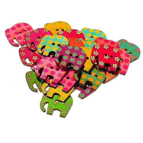 Souarts Mixte Forme de Elephant 2 Trous Boutons en Bois Lot de 50pcs
