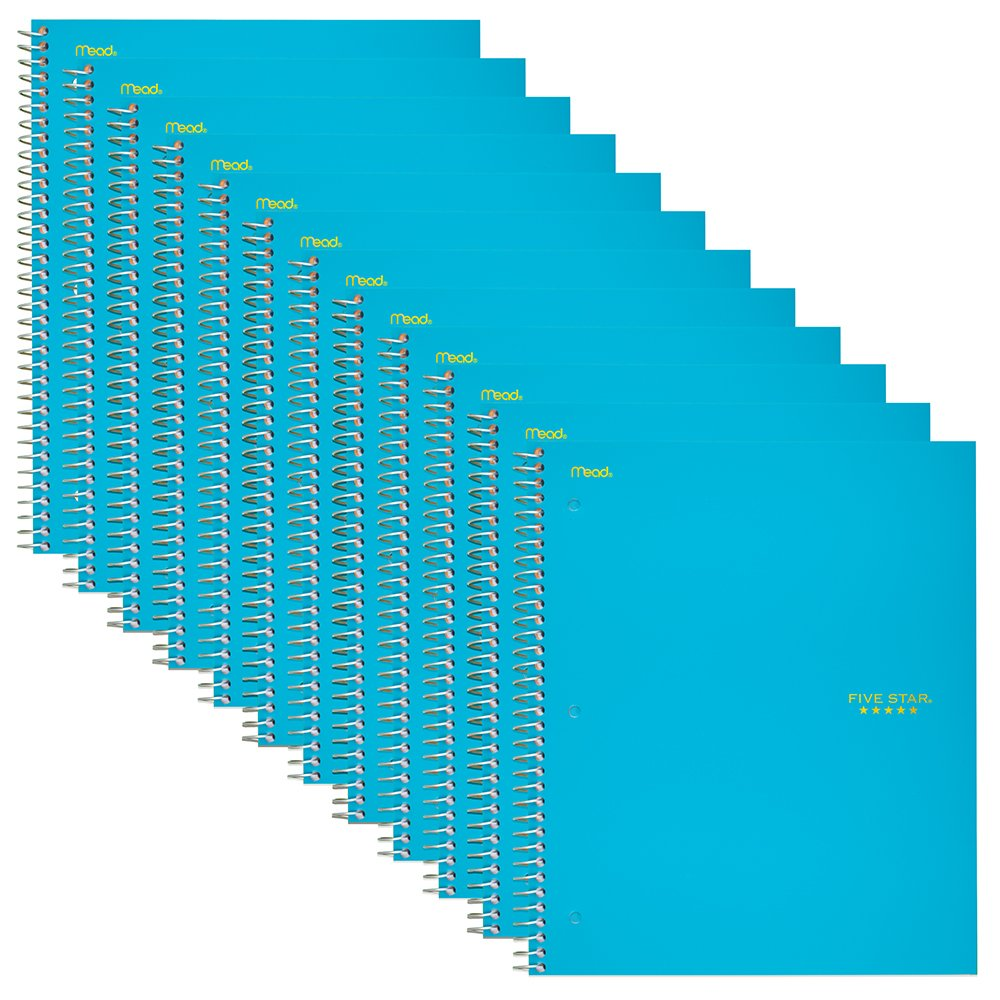 Five Star Spiral Notebook, 1-Subject, College Ruled Paper 100 Sheets, 11'' x 8-1/2'',  Teal, 12 Pack (72454)
