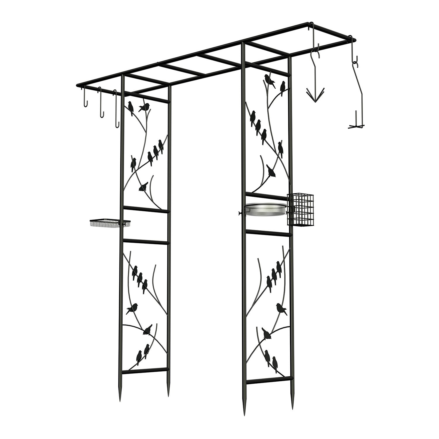 Panacea 83145 Garden Arbor and 10-Piece Bird Feeding Station with Accessories, Perching Birds Design, 84-Inch Height, Black by Panacea