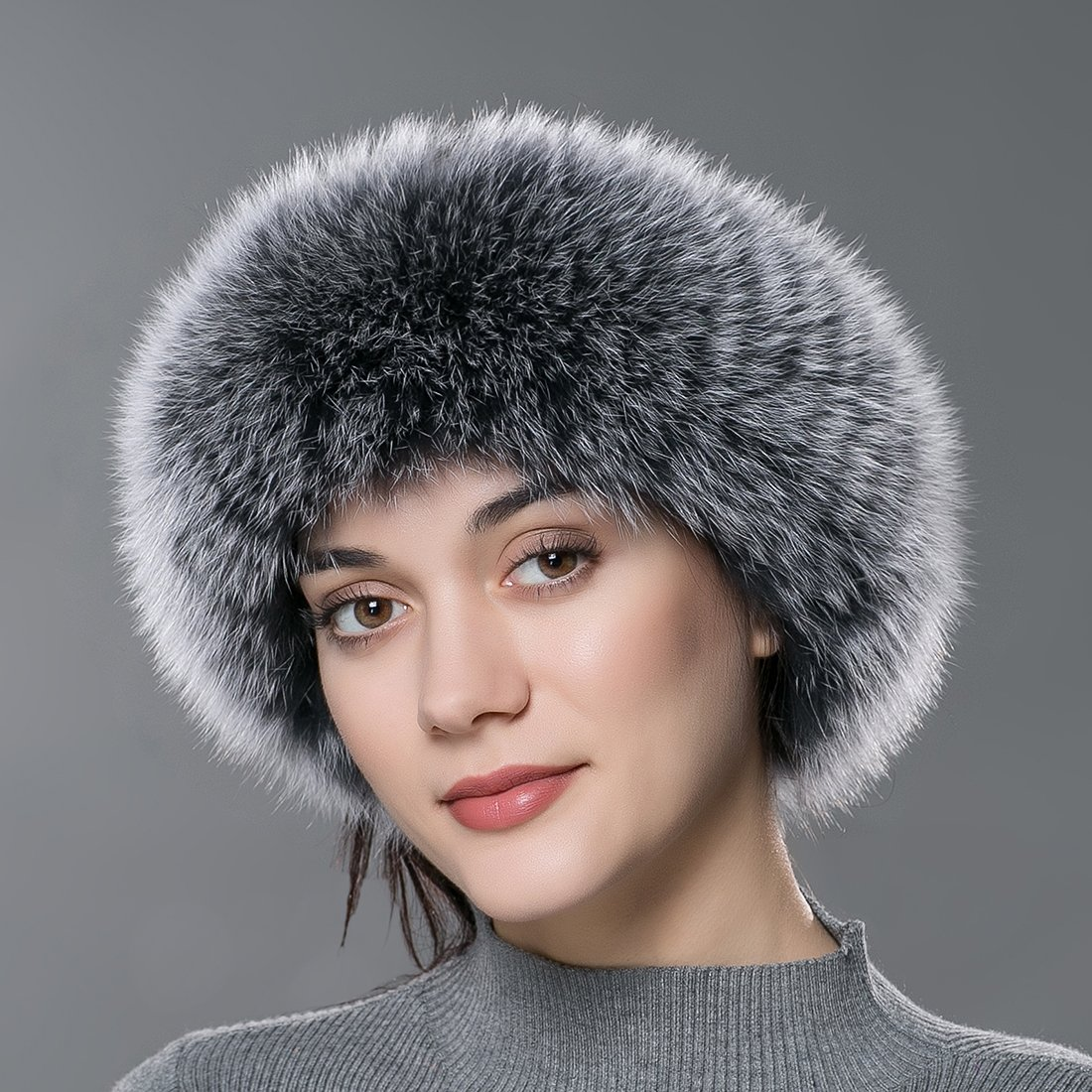 URSFUR Winter Fur Headband Women Warm Real Fox Fur Knitted Headband Earmuffs Gray Frost by URSFUR (Image #3)