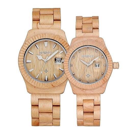 Bewell - Reloj madera reloj hombres y mujeres pareja reloj de cuarzo resistente al agua fecha pantalla moda relojes: Amazon.es: Relojes