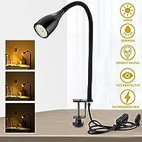 Bojim Luz de clip LED regulable de 6 W, blanco cálido con 3 niveles de brillo, que incluye 1 x iluminante GU10…
