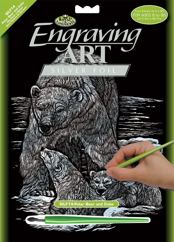 DIN A4 Eisb/är mit Jungen Engraving Art//Kratzbilder silber Royal /& Langnickel SILF14