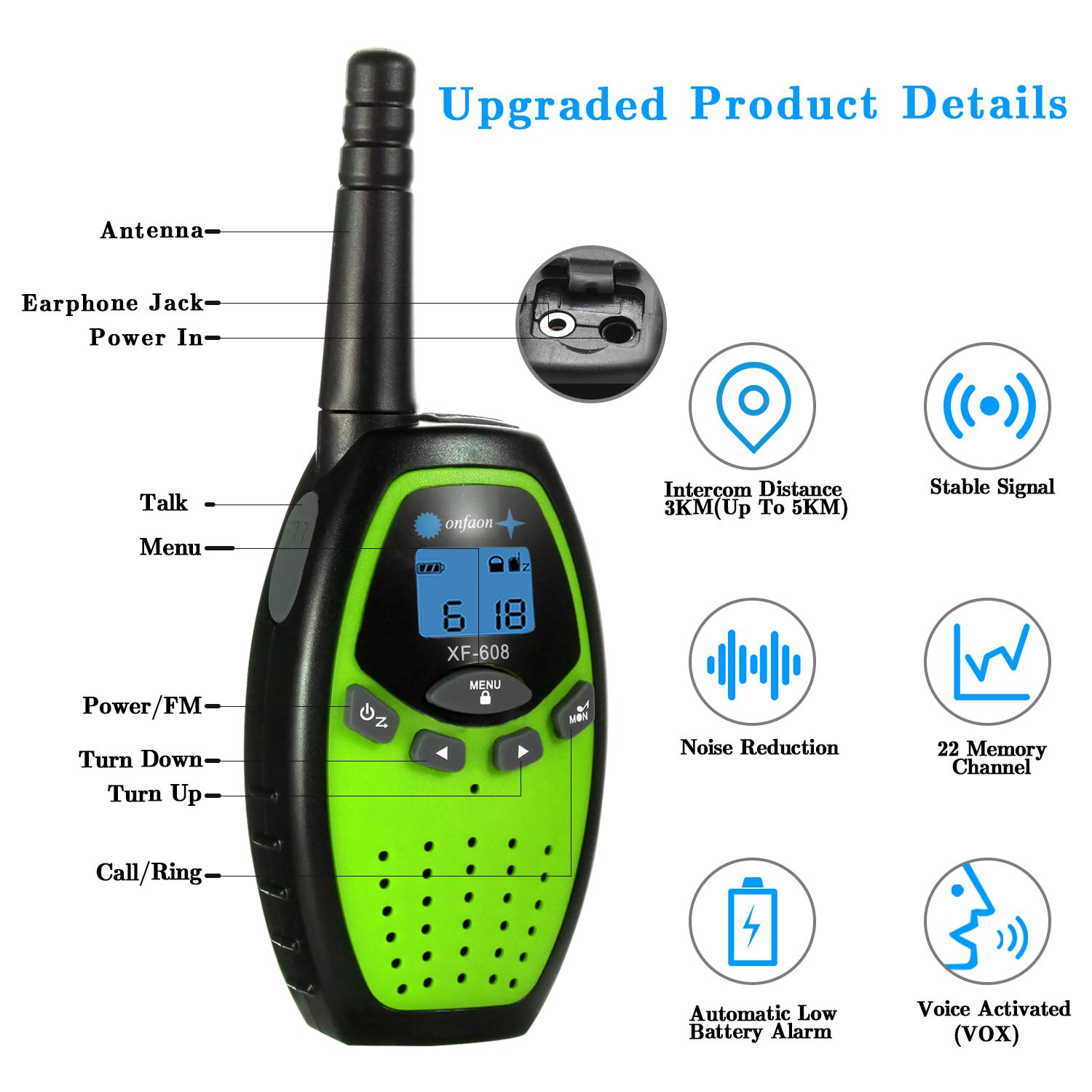 onfaon Walkies Talkies for Kids,22 Channels 2 Way Radios Long Range with Automatic Battery Save,Range Up to 2 Miles for Camping,Hiking,Fishing,Outdoor Activities. (Green) by ONFAON (Image #2)