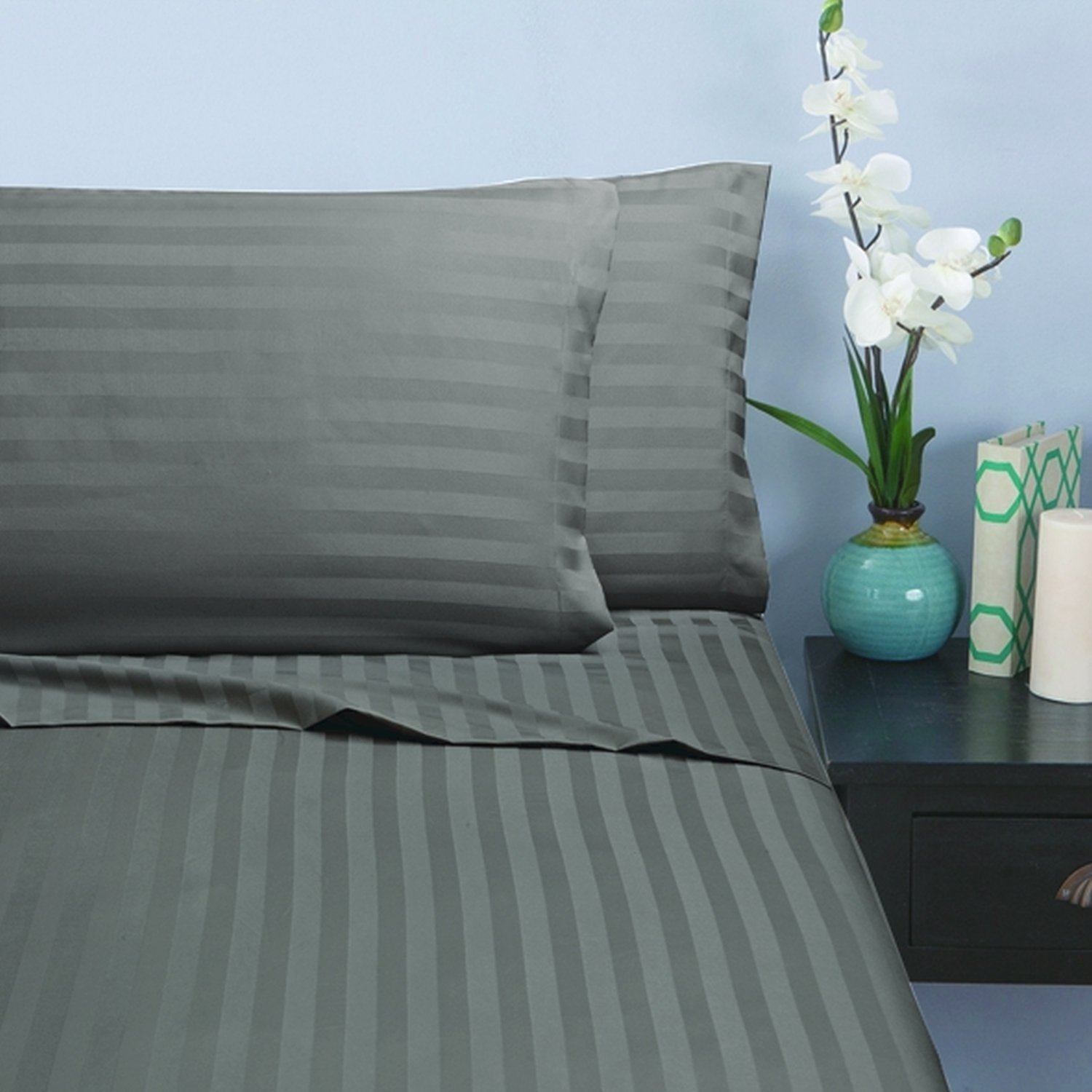 Full//Queen Green Elegant Comfort Wrinkle /& Fade Resistant 1500 Thread Count Egyptian Quality Damask STRIPES Luxurious Silky Soft 3pc Duvet Cover Set